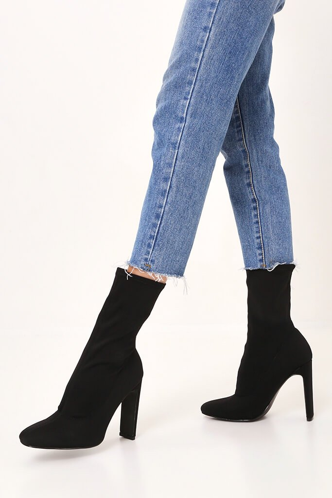Black Pointy Stretch Sock Boots With Flat Heel view 2