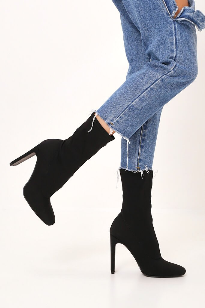 Black Pointy Stretch Sock Boots With Flat Heel