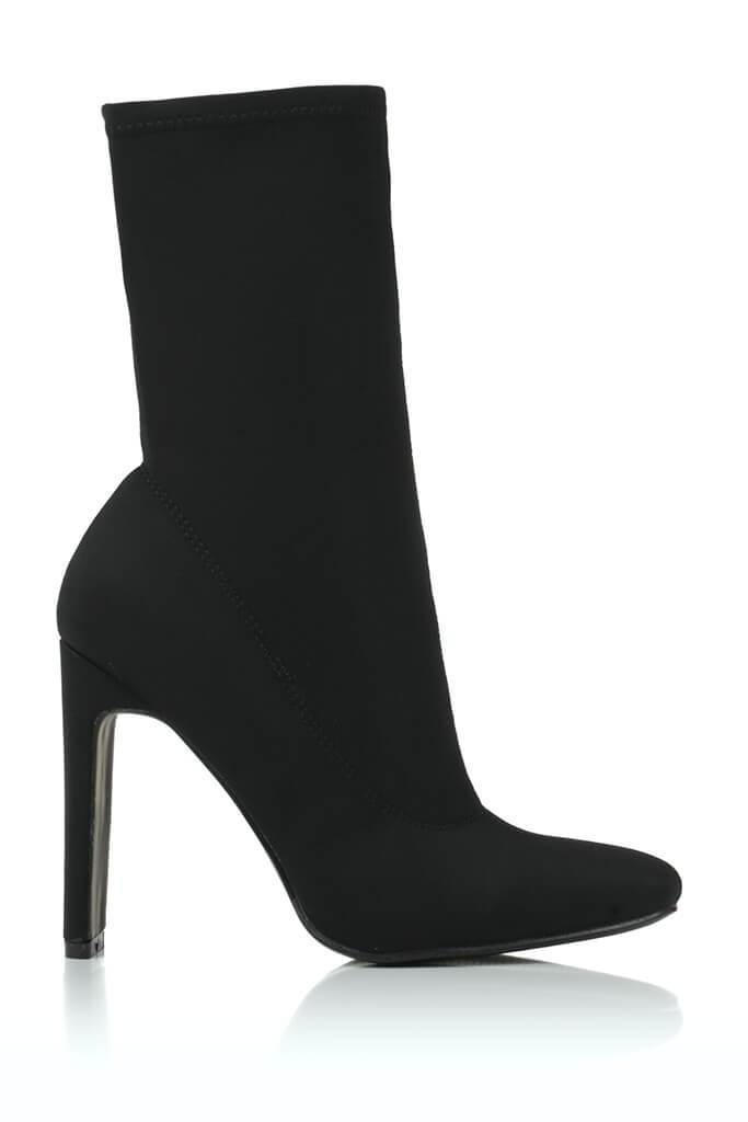 Black Pointy Stretch Sock Boots With Flat Heel view 4
