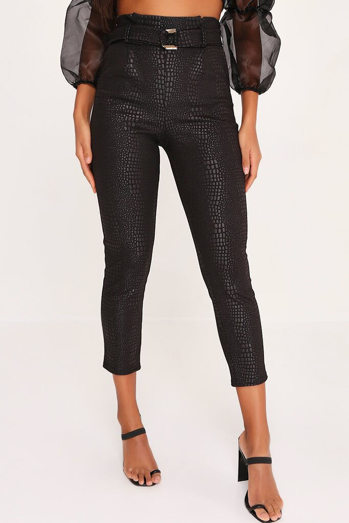 Black Croc Print Belted Cigarette Trousers view 2