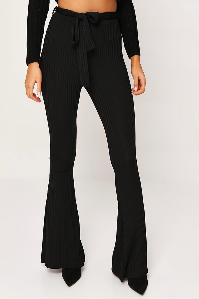 Black Ribbed Tie Waist Flare Trousers view 2