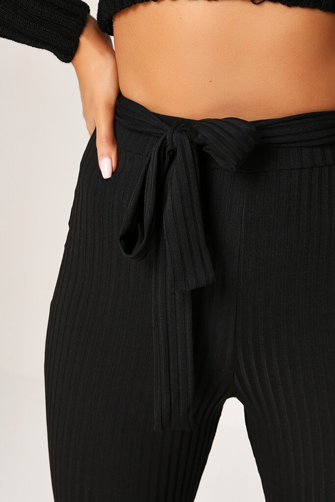 Black Ribbed Tie Waist Flare Trousers view 4