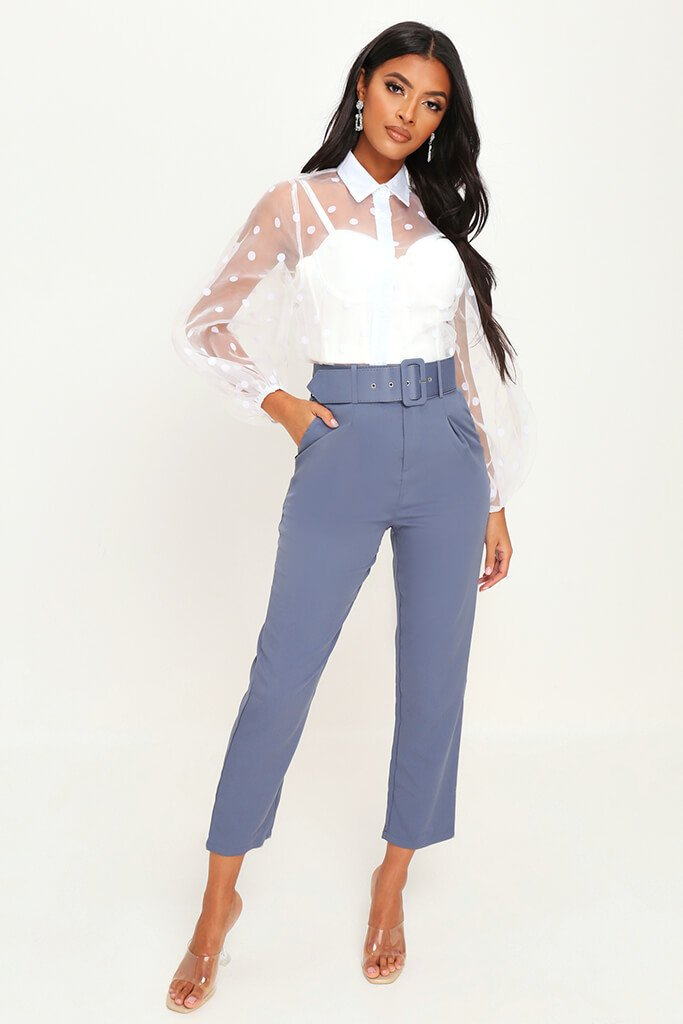 Charcoal Belted Cigarette Trousers