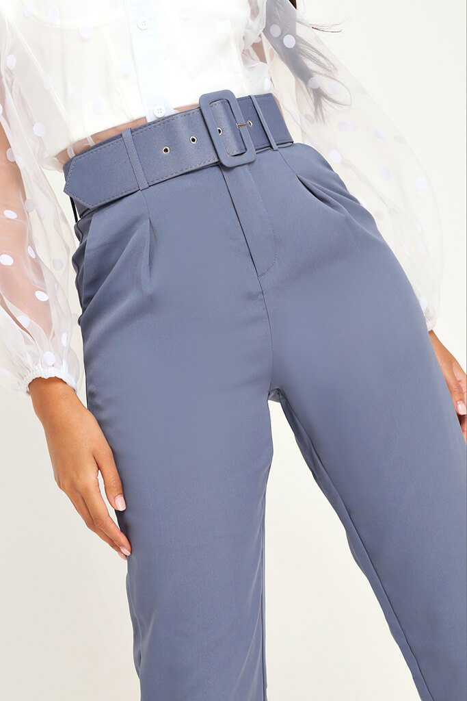 Charcoal Belted Cigarette Trousers view 4
