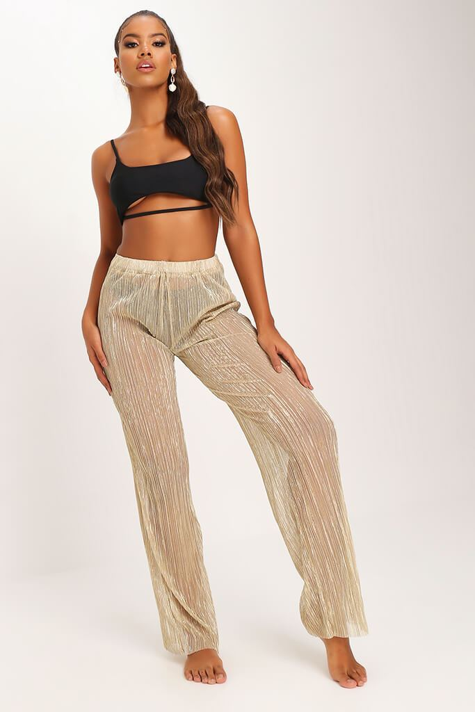 Gold Gold Sheer Mesh Plisse Trousers view 3