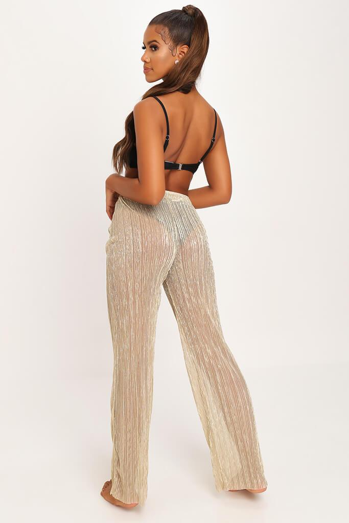 Gold Gold Sheer Mesh Plisse Trousers view 5