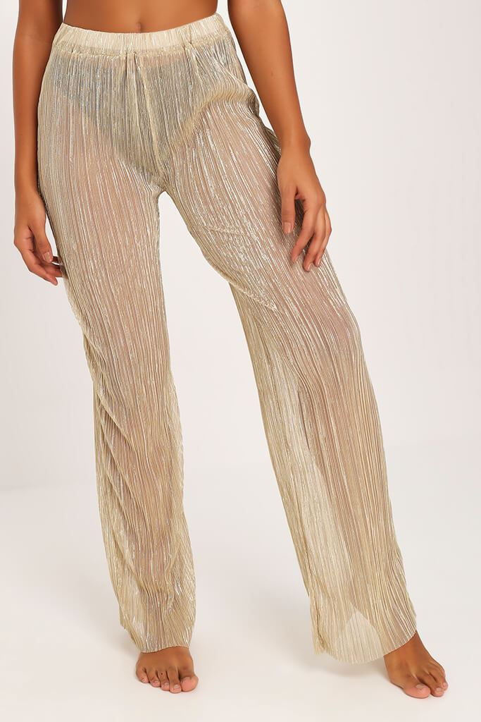 Gold Gold Sheer Mesh Plisse Trousers view 2
