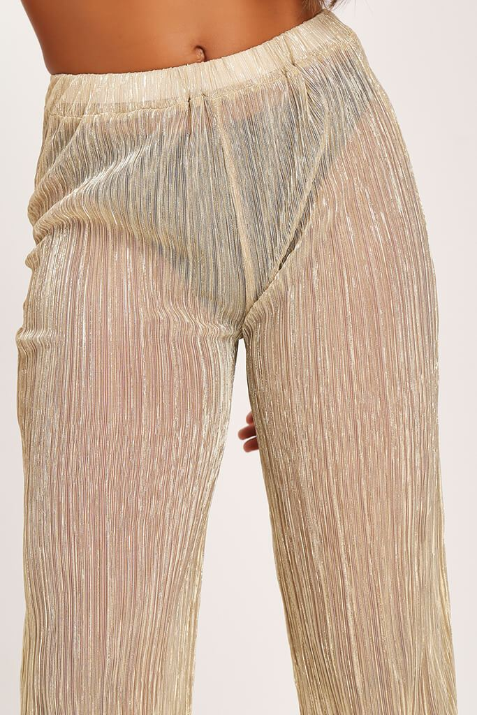Gold Gold Sheer Mesh Plisse Trousers view 4