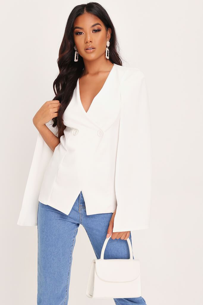 White Button Front Cape Blazer