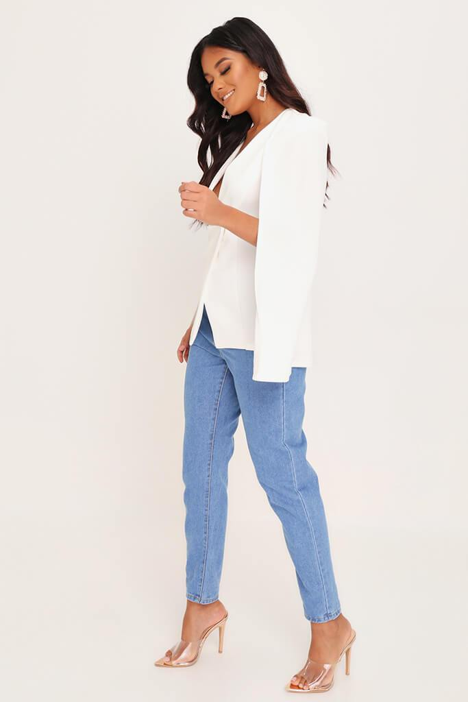 White Button Front Cape Blazer view 3