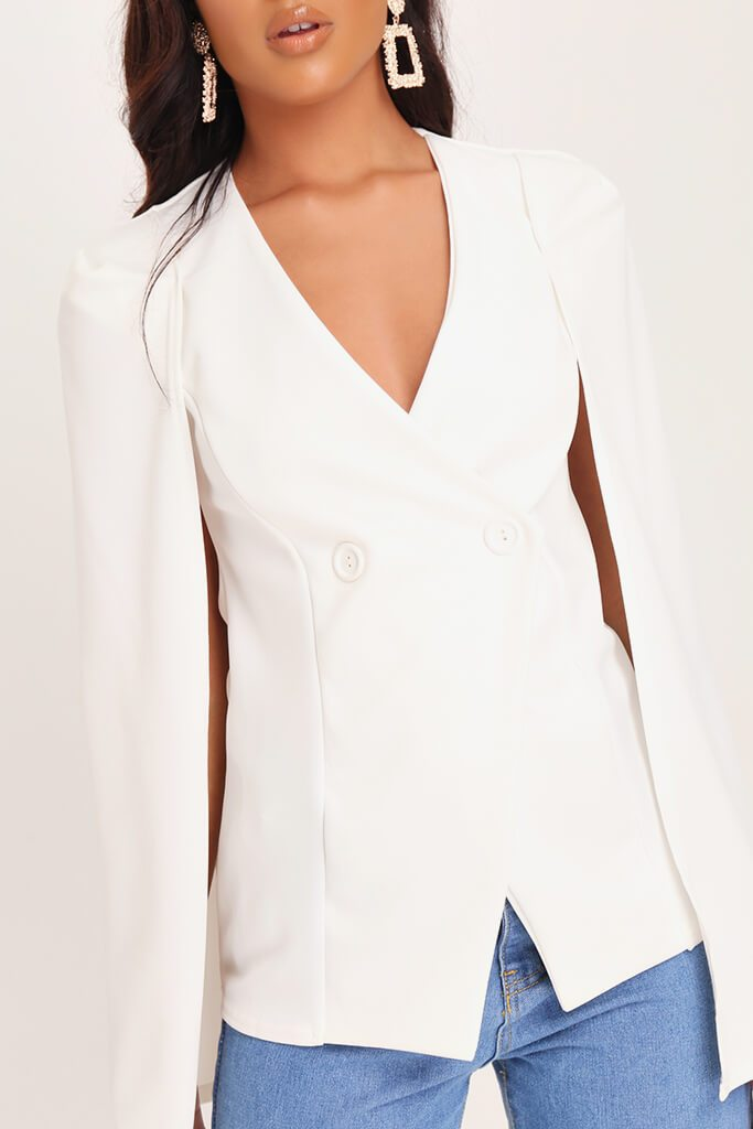 White Button Front Cape Blazer view 4