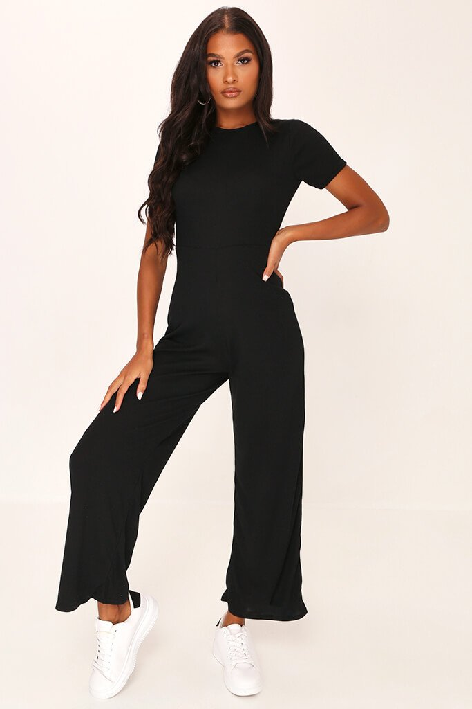 Black Ribbed T-Shirt Jumpsuit view main view