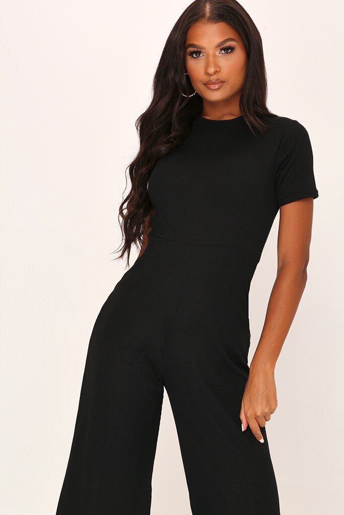 Black Ribbed T-Shirt Jumpsuit view 2