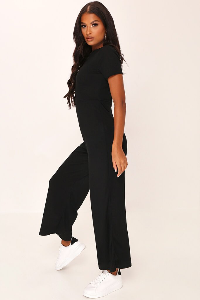 Black Ribbed T-Shirt Jumpsuit view 3