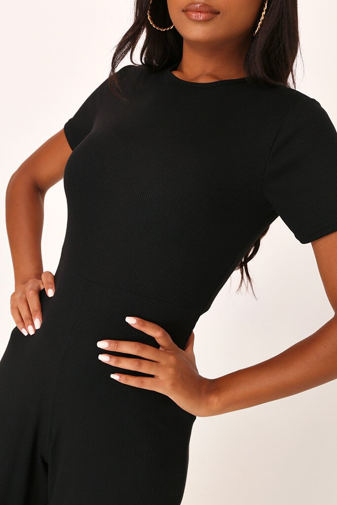 Black Ribbed T-Shirt Jumpsuit view 4