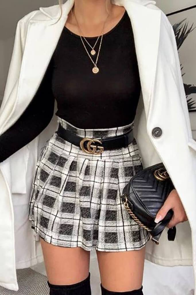 72f4d2be1 Grey Checked Skater Mini Skirt - PDP – I SAW IT FIRST
