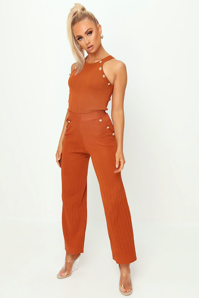 Rust Button Detail Knitted Trousers