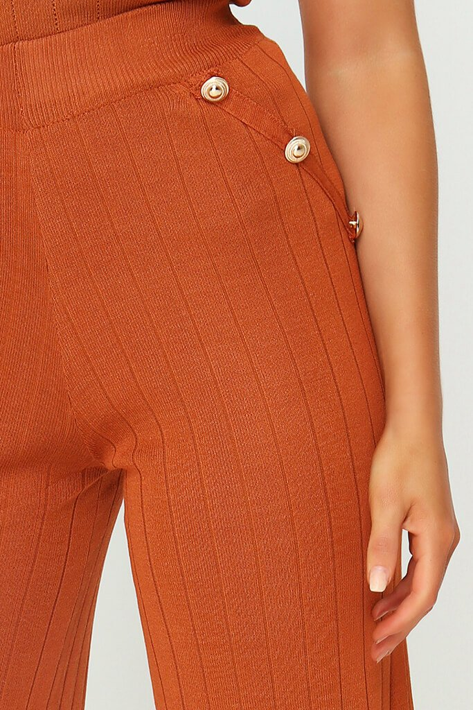 Rust Button Detail Knitted Trousers view 4