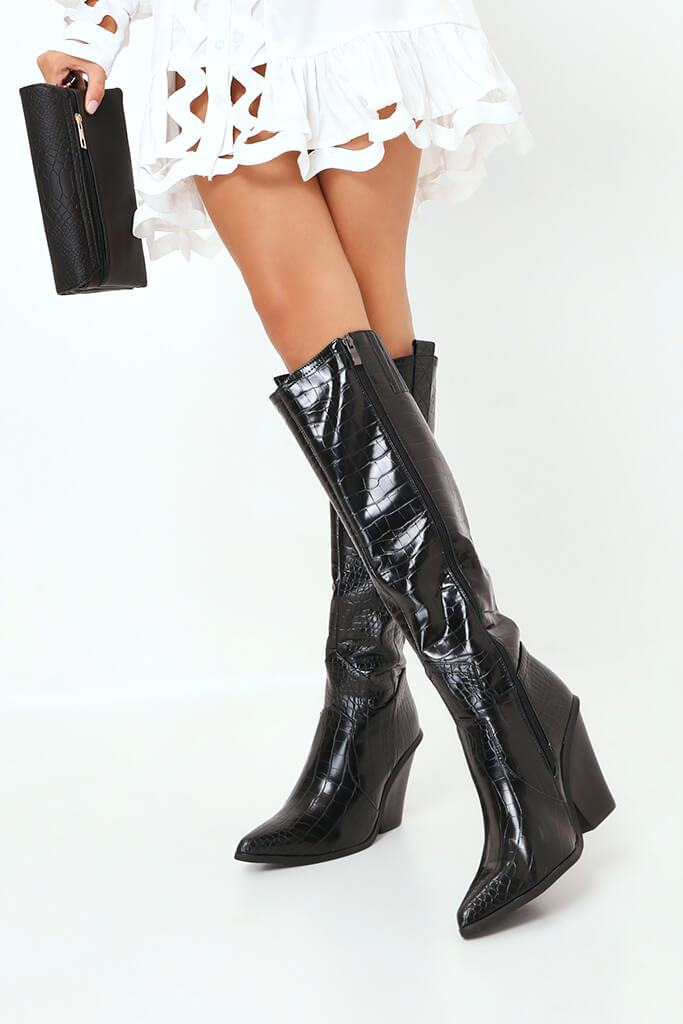 Black Croc Knee High Western Boots view 3