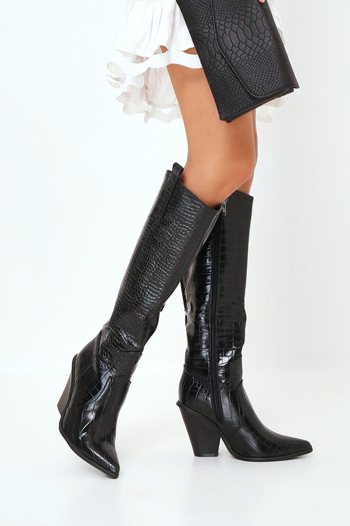 Black Croc Knee High Western Boots