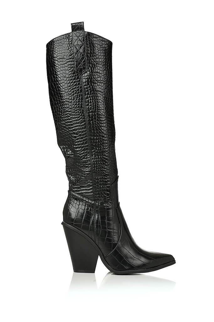 Black Croc Knee High Western Boots view 4