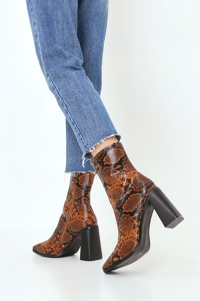 Brown Snake Print Square Toe Block Heel Ankle Boots view 3