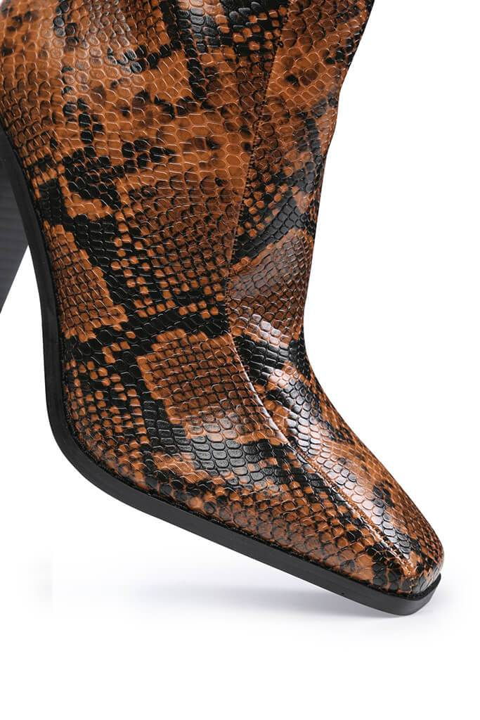 Brown Snake Print Square Toe Block Heel Ankle Boots view 5