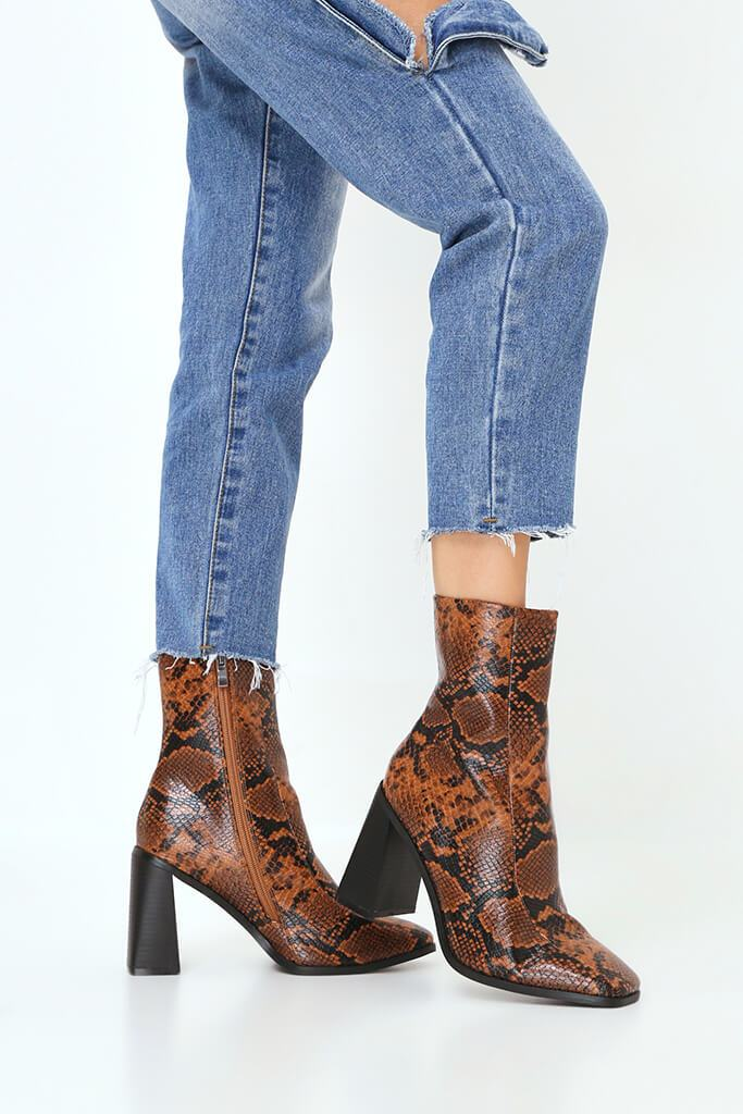 Brown Snake Print Square Toe Block Heel Ankle Boots