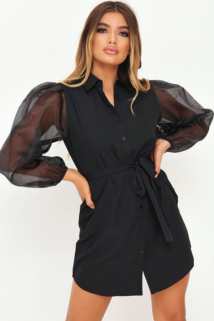 Black Organza Belted Puff Sleeve Shirt Dress view main view