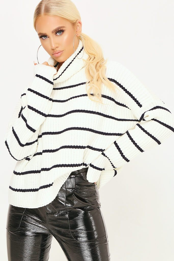Cream Striped Roll Neck Jumper view main view