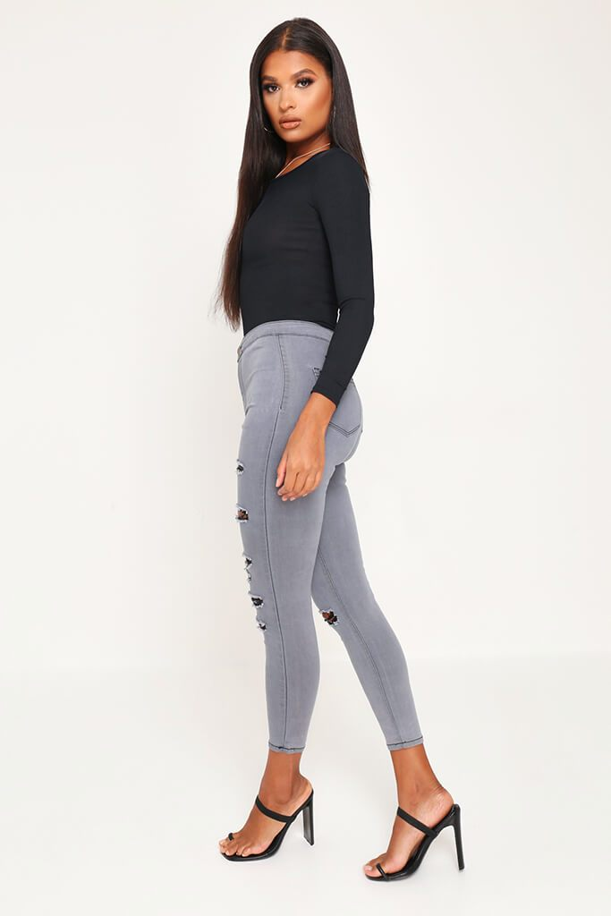Grey Skinny Distressed Jeans view 3