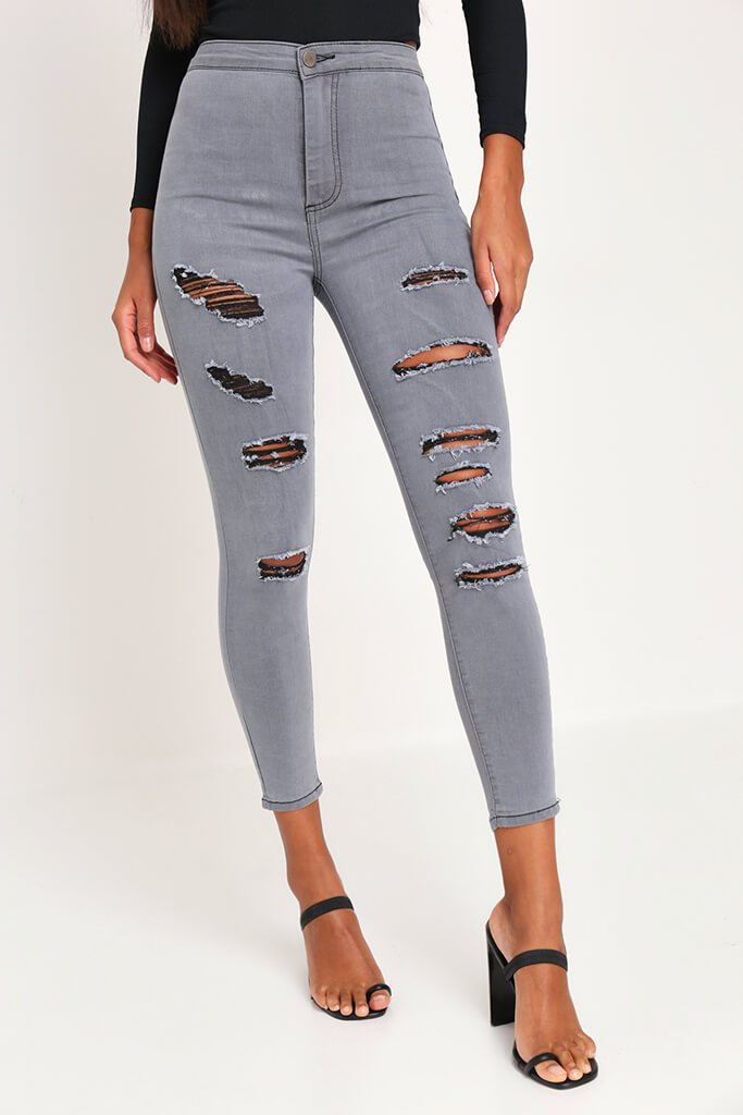 Grey Skinny Distressed Jeans view 2
