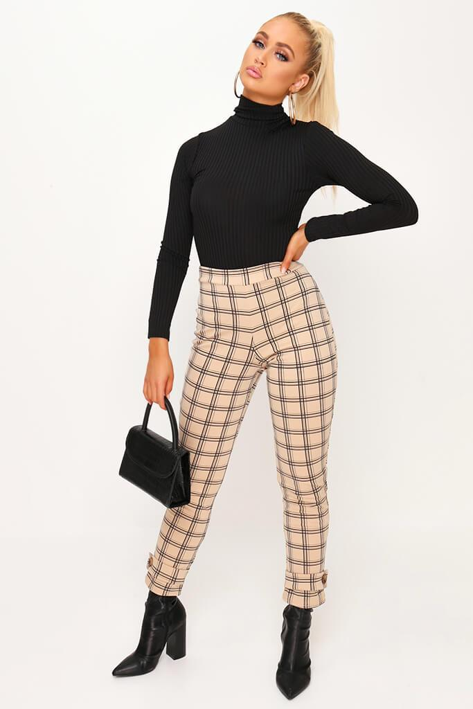 Beige Check Print Cuff Detail Cigarette Trousers view main view