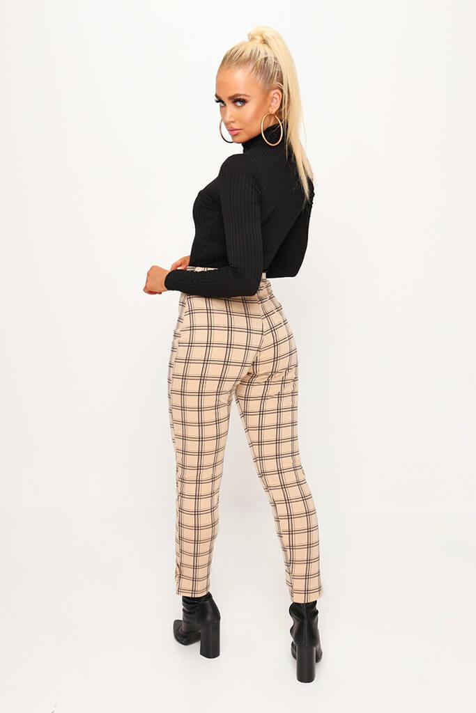Beige Check Print Cuff Detail Cigarette Trousers view 3