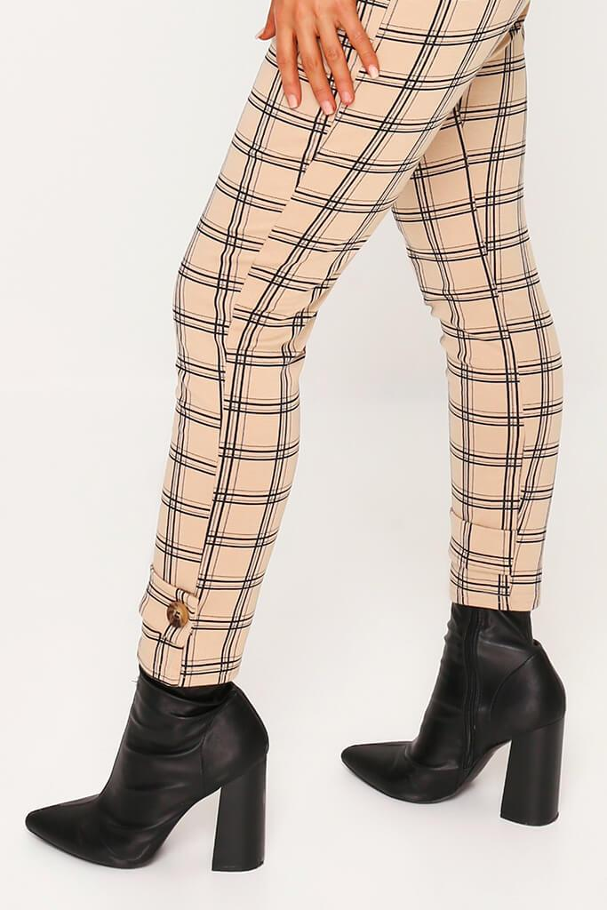 Beige Check Print Cuff Detail Cigarette Trousers view 2