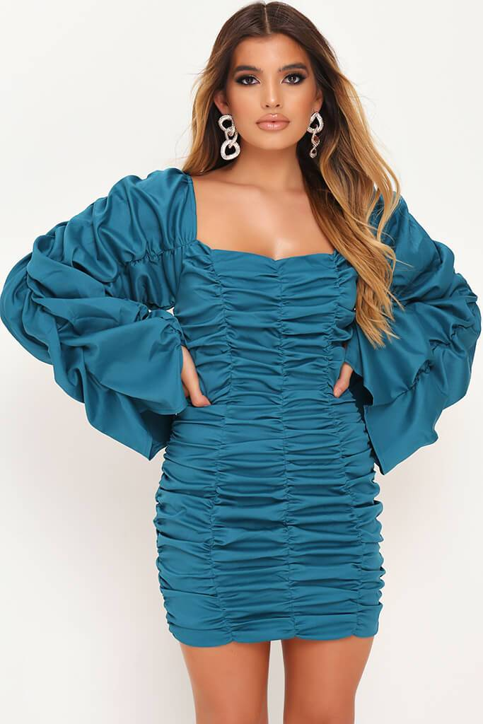 Turquoise Extreme Ruched Square Neck Bodycon Dress view 2