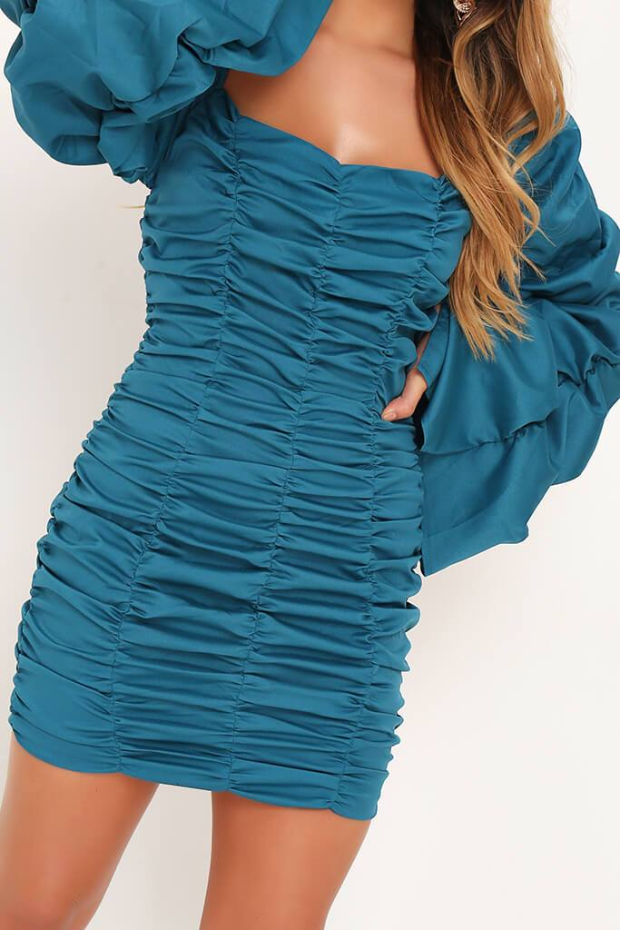 Turquoise Extreme Ruched Square Neck Bodycon Dress view 4