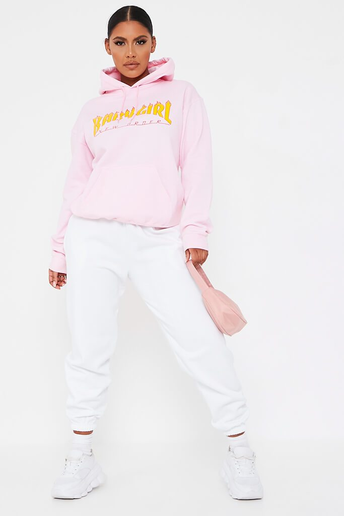 Baby Pink Baby Girl Flames Oversized Hoodie view 2