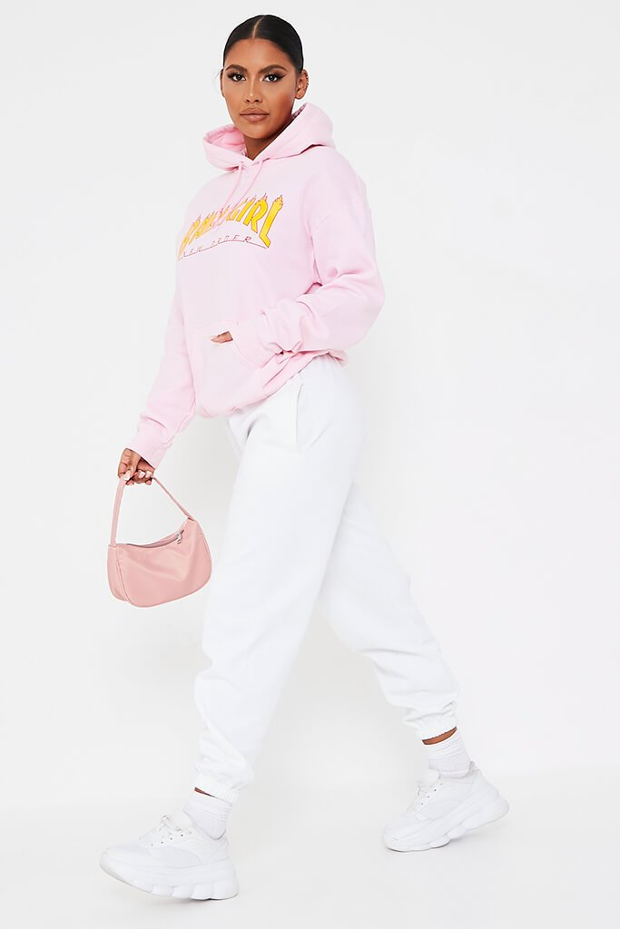 Baby Pink Baby Girl Flames Oversized Hoodie view 3