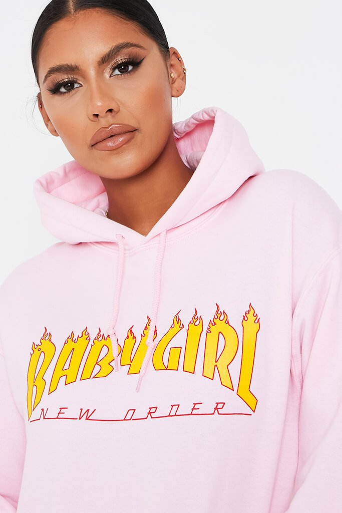 Baby Pink Baby Girl Flames Oversized Hoodie view 4