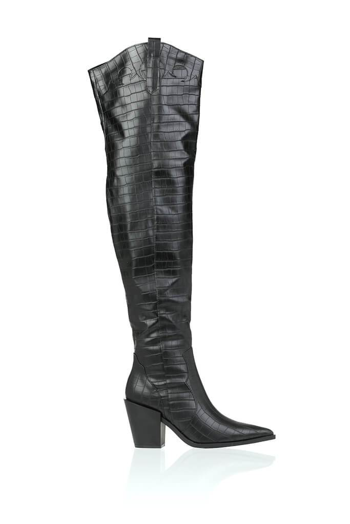 Black Croc Pointed Heel Over The Knee Boots view 2
