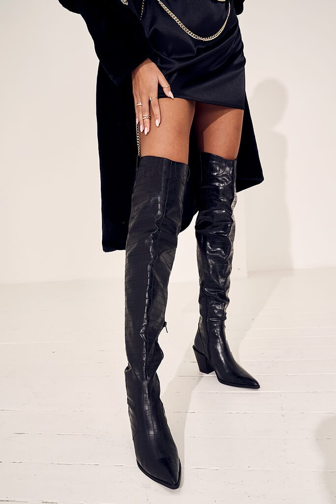 Black Croc Pointed Heel Over The Knee Boots