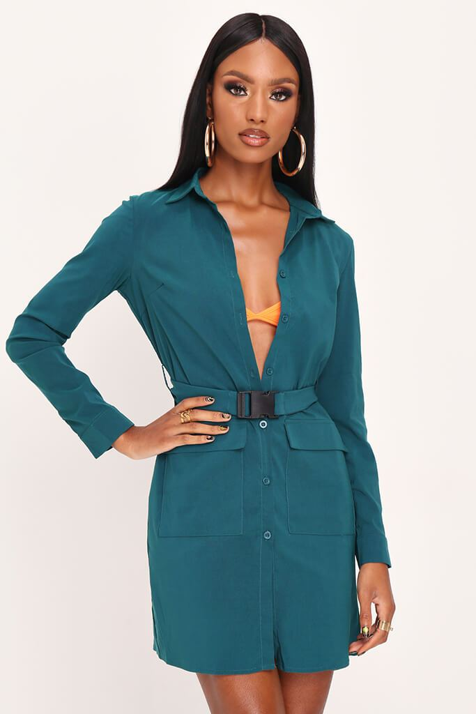 Emerald Green Long Sleeve Belted Utility Dress