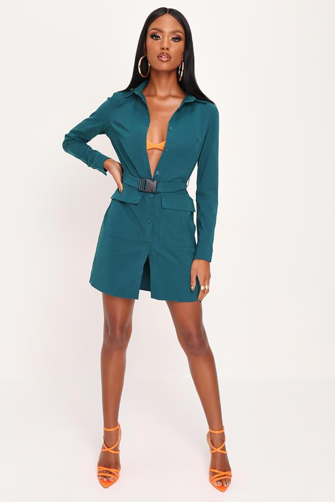 Emerald Green Long Sleeve Belted Utility Dress view 2
