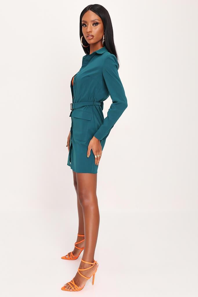 Emerald Green Long Sleeve Belted Utility Dress view 3