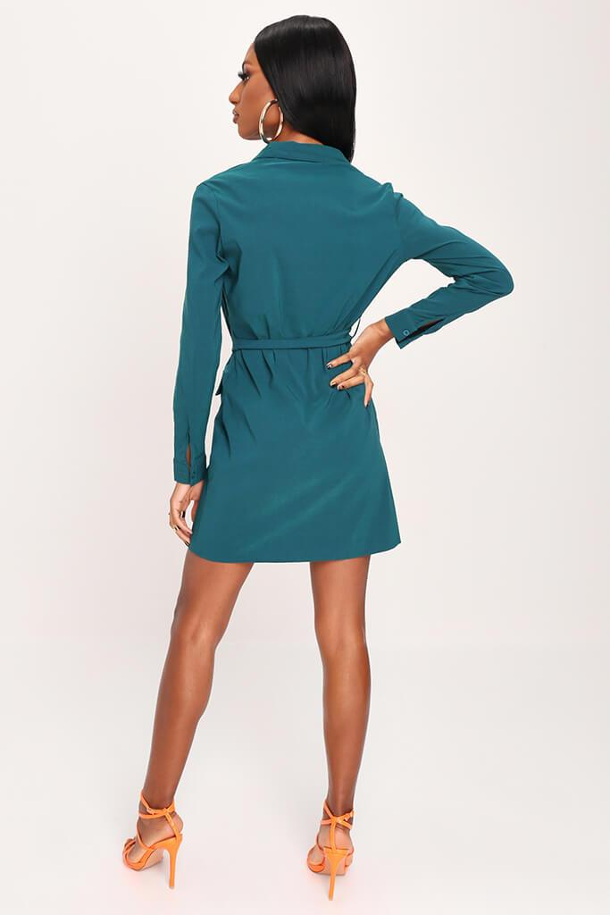 Emerald Green Long Sleeve Belted Utility Dress view 5