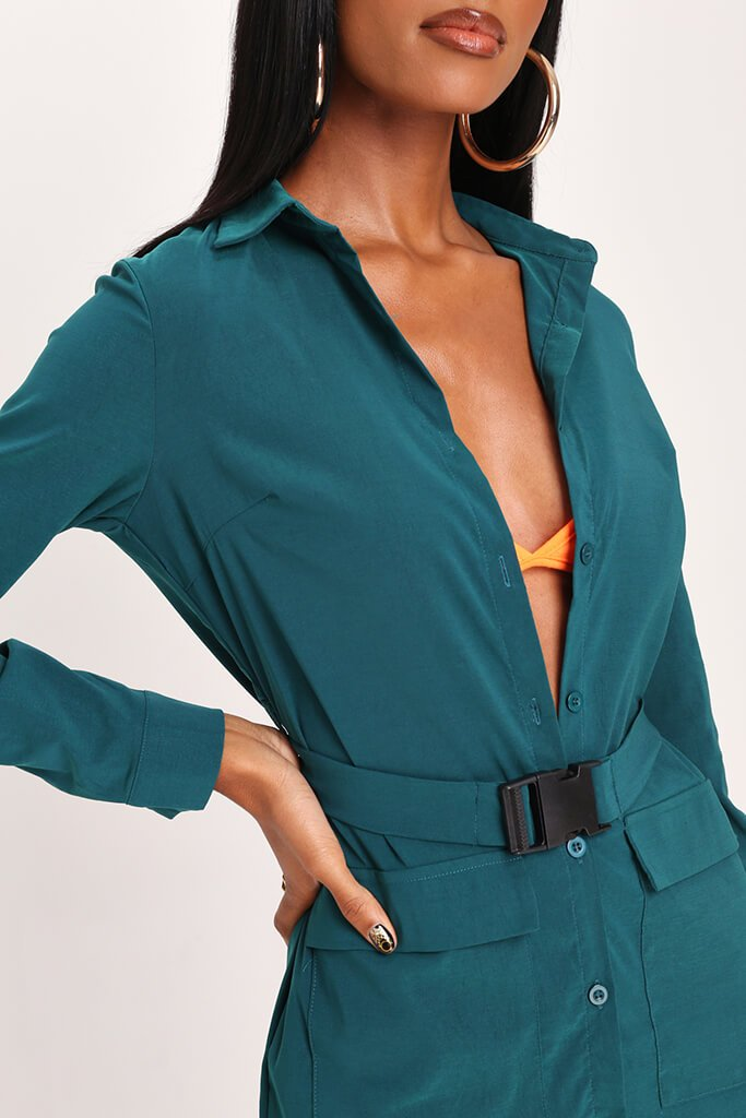 Emerald Green Long Sleeve Belted Utility Dress view 4