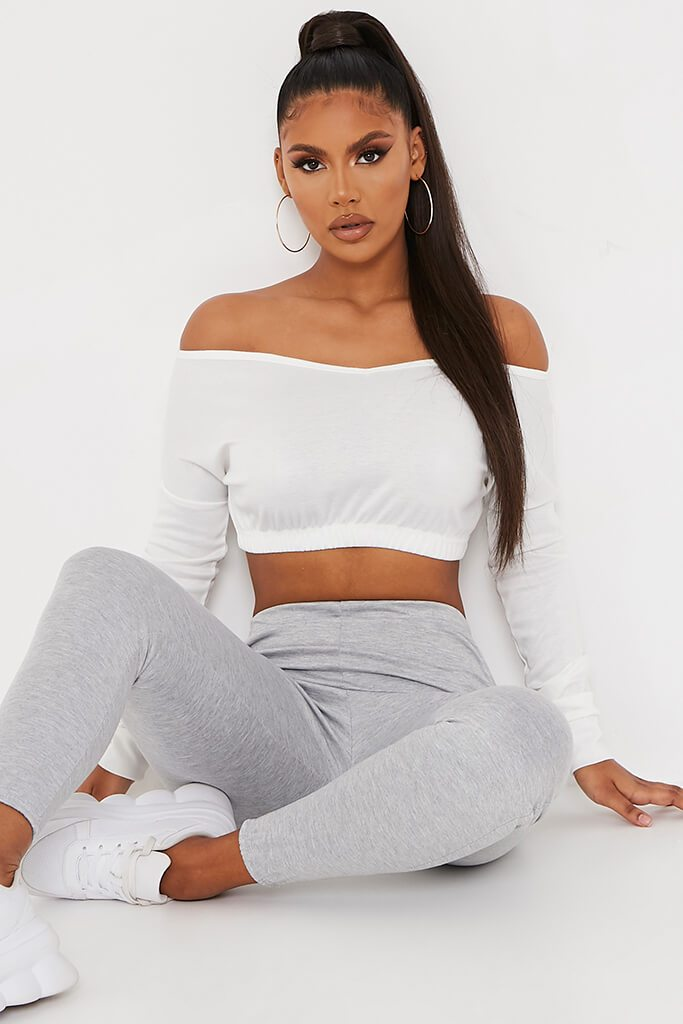 Cream Crop Off Shoulder Sweater