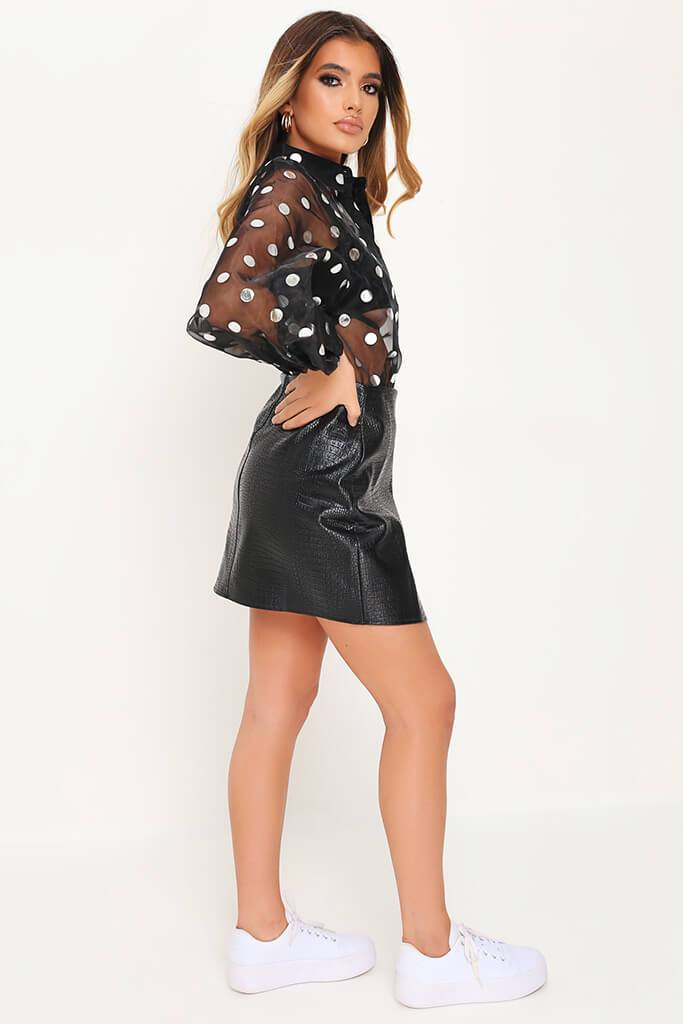 Black Polka Dot Organza Balloon Sleeve Shirt view 3