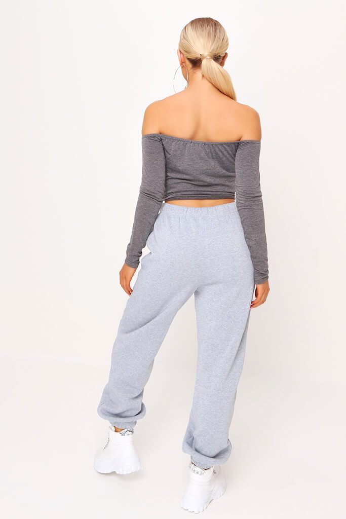 Charcoal Bardot Tie Knot Long Sleeve Crop Top view 5